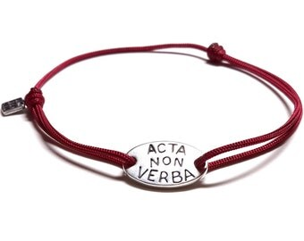 Acta non verba Sterling Silver bracelet - 'deeds, not words' quote in latin, adjustable cord inspirational bracelet