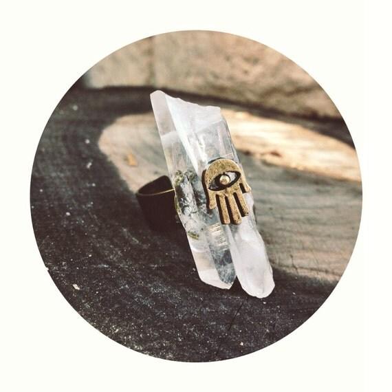 Crystal quartz ring. Hamsa ring