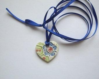 Large Porcelain Pendant on a Double Ribbon Necklace