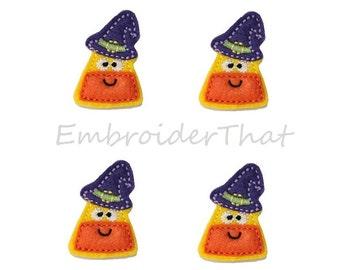 UNCUT Candy Corn Witch Hat felt applique embellishment Hair Bow Center (4)