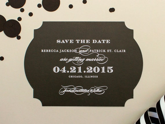 Classic Save the Date Card, Elegant Engagement Announcement, Black and White Wedding Save the Dates with Ornate Die Cut Shape | Luxe
