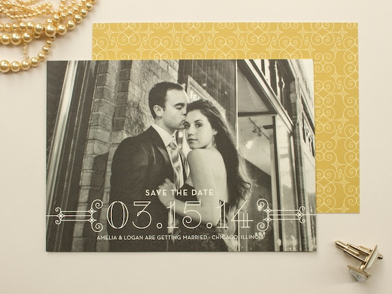 items similar to photo save the date art deco theme weddings elegant save the date cards. Black Bedroom Furniture Sets. Home Design Ideas