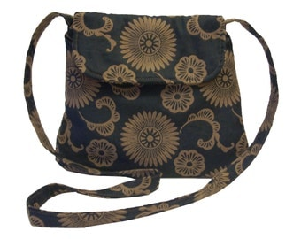 New Medium Cross body Bag/ Messenger Bag/ iPad Bag/  Black with brown flowers.