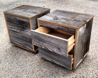 Reclaimed Wood Bedside Table (Grey)