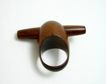 Rod-Style Statement Ring of Teak and Mexican Rosewood