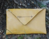 Mustard yellow hand clutch with slate gray hand-stiched arrow//bridesmaid gift//gift idea//shabby chic clutch