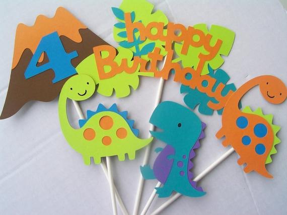 Items similar to dinosaur birthday party toppers - Decoracion fiestas de cumpleanos ...
