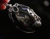 Powerful Large Natural Dark Agate Wire Wrap Healing Pendant