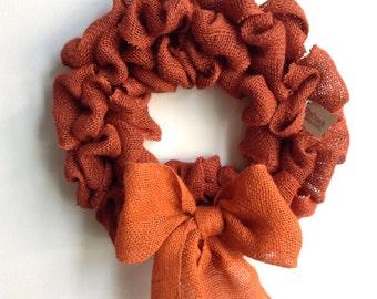 Burlap Fall Wreath, Pumpkin Wreath, Orange Burlap Wreath, Fall Wreath, Autumn Wreath, Orange Wreath
