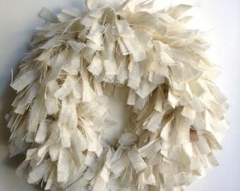 "Burlap Beach Wreath, 26"", Spring Wreath, Summer Wreath, Tan Wreath, White Wreath, Rustic Wreath"