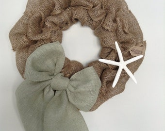 "16"", Beach Wreath, Nautical Wreath, Burlap Beach Wreath, Coastal Living Wreath, Burlap Wreath, Starfish Wreath"