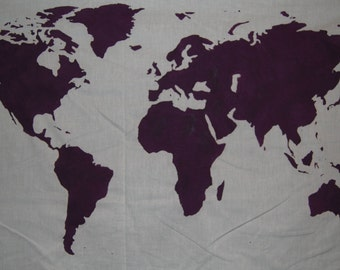 SALE.*.   World Map Wall Tapestry in Purple