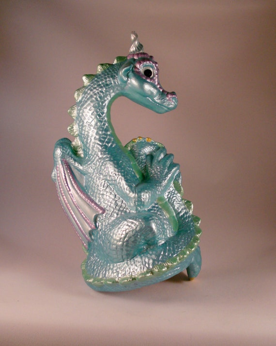 Dragon Statue, Mint Green and Lavender paint