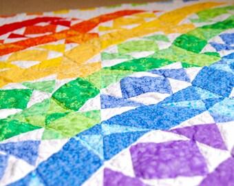 Custom Rainbow Waves Quilt