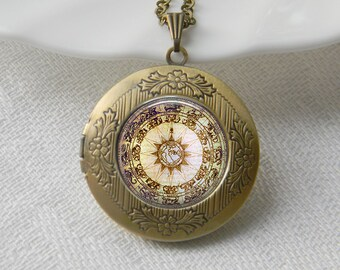 Compass Locket Necklace Art Photo Print Jewelry Locket Pendant Gift For Her (024)
