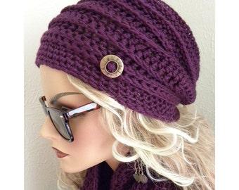 Womens Hat Purple Violet  Hand Crocheted Cloche Hat  women teens fashion fall autumn trends purple hat winter fashion accessories