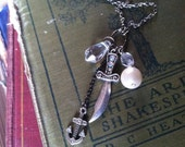 Black Friday sale! Pirates life for me- Charm necklace, anchor, pirate sword,  plastic pearl and jewels