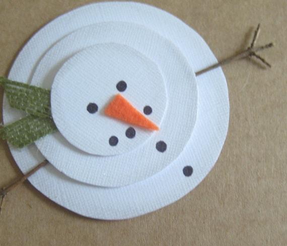 Items Similar To Handmade Christmas Card, Rustic Snowman