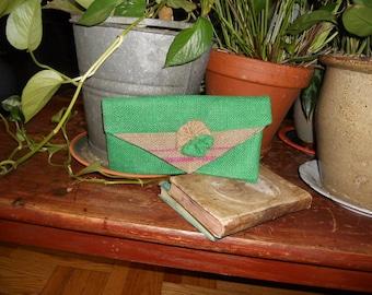 Green  and natural burlap clutch purse, shabby chic clutch, burlap clutch