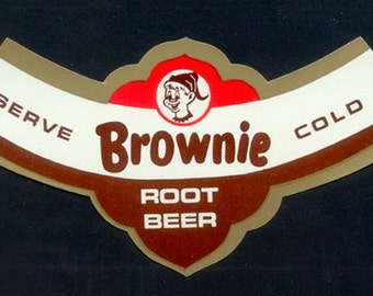Four 1950's - 1960's Brownie Root Beer Labels - Collage, Decoupage, Mixed Media, Artist Trading Card