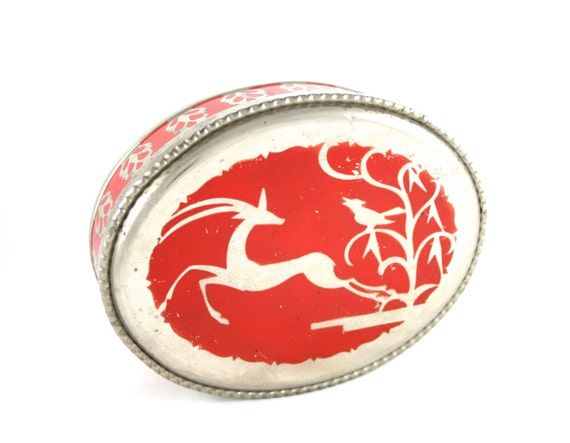 Red Oval Tin Small Decorative Metal Box with Lid Pink Tin Wedding Card Box Animal Gifts