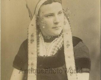 Netherlands beautiful young woman ethnic attire antique albumen fashion photo