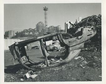 Wrecked car junk yard vintage art photo