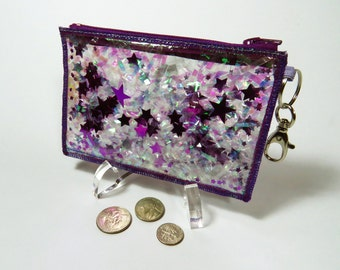 Coin Wallet Keychain Card Holder ID Case Change Purse in Starburst