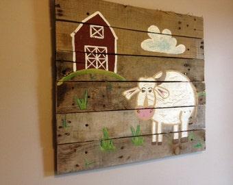 cowwith black spots20x20pallet artrustic wall