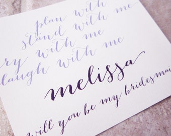 6 Will You Be My Bridesmaid Personalized Handwriting Script Plan Stand Cry Laugh Card