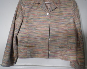 Sviree, Multi Color, Jacket, Blazer, Medium, 100%, Hand woven silk, USA
