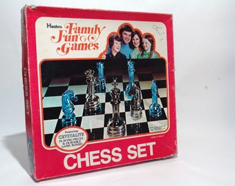 Family Fun Chess Set from Hasbro Colorful Clear Chess Pieces 1976