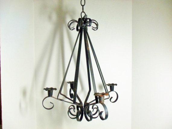Chandelier Candelabra Heavy Black Wrought Iron Large Indoor
