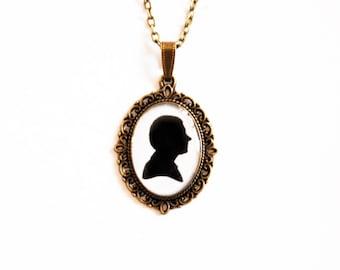 "Doctor John Watson  (Martin Freeman) Silhouette - From Television Series ""Sherlock"" - Handmade Vintage Cameo Pendant Necklace"