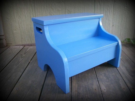 Kids Painted Wooden Step Stool Spa Blue