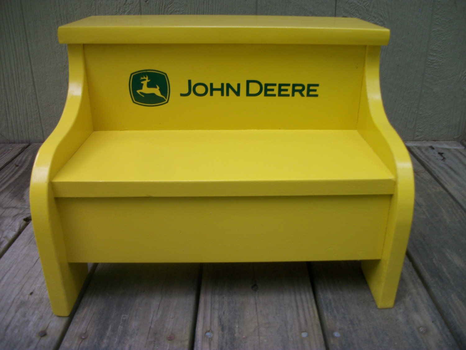 Childs Wood Step Stool John Deere Yellow