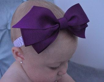 Royal Purple Bow Headband on Lavender and White Chevron Elastic Infant Headband Baby Girl Headband Newborn Headband Toddler Headband