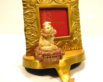Pampered Kitty Stocking Holder with Brass Picture Frame