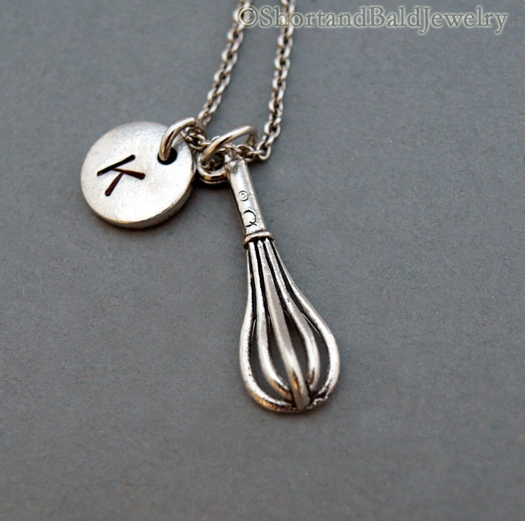 whisk necklace kitchen whisk charm silver by