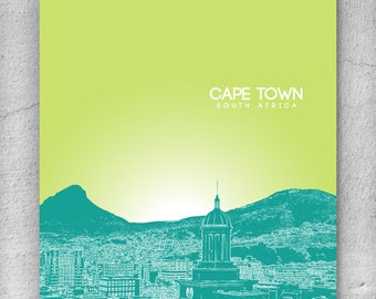 Cape Town South Africa Skyline Poster / Home or Office Wall Art Poster / Any City or Landmark
