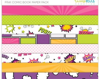 Pink Comic Book Paper Pack