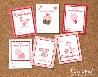 Valentine's Printable Kids Cards EDITABLE
