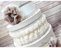 Wedding Card Box / Bridal Lace Box / Money Card Box / Gift Holder in Ivory, Champagne, Tan and Cream with Beautiful Handmade Flowers