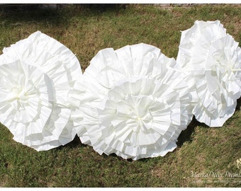 Set of 3 pc Wedding Parasol Bridal Umbrellas for Kids with Multi Layers of Gorgeous Fabric in Ivory