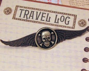 Steampunk Airship Pirate Skull and Crossbones Winged Pin, Skull Pin, Rocker Pin, Steampunk Accessory, Airship Captain Pin, Winged Pin