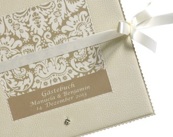 Guestbook for the wedding of 25 x 25 cm with ornament in beige