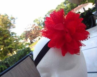 Lady in red .. black and red headband