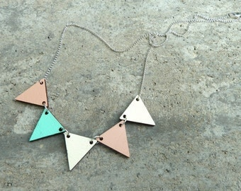 Pennant Wood Necklace //  Blush and Mint Bunting Necklace // Reversible // Wood Necklace // Peach and Mint