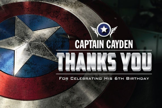 items similar to captain america 4x6 thank you card on etsy