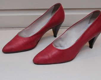 Vintage Maud Frizon Red Faux Snake Skin 1980's Shoes Size 5